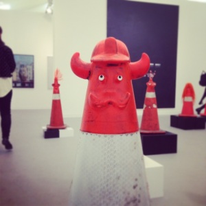 Rob Pruitt's 'safety cones' were extremely comical and seemed to attract a lot of attention.