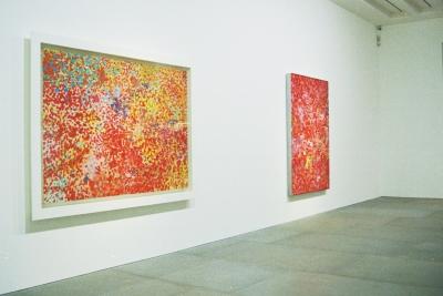 "Damien Hirst, ""Super Happy Happy Dappy"", 1993. 154.4 x 213.4 cm. & ""Happy Fat Dappy Dappy"", 1993. 183.5 x 153 x 5.1 cmc"