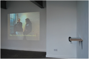 Figure 1: Cruz, J. (2009). Translating: Chapter Two [Video Installation, Sculptural text work]. Crate, Margate. Commissioned for Bad Translations, Curated by Matthew de Pullford http://www.cratespace.co.uk/