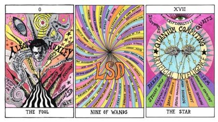 0 THE FOOL (Aldous Huxley), NINE OF WANDS (LSD), XVII THE STAR (Quantum Computing - AI), Hexen 2.0, 2009, Suzanne Treister