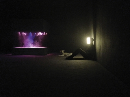 """FROM LEFT TO RIGHT: L'Expédition Scintillante, Act 2: Untitled (light box), 2002, Human (2011–13), and Player (2010), in the exhibition """"Pierre Huyghe"""" at the Centre Pompidou, Paris, September 2013–January 2014. PHOTO: PIERRE HUYGHE. ART: ©PIERRE HUYGHE/COURTESY MARIAN GOODMAN GALLERY, NEW YORK AND PARIS"""