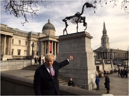 'Just unveiled the new sculpture on the #FourthPlinth in Trafalgar Sq the fantastic #GiftHorse' – Boris Johnson, via Twitter (www.twitter.com/MayorofLondon), 5th May 2015