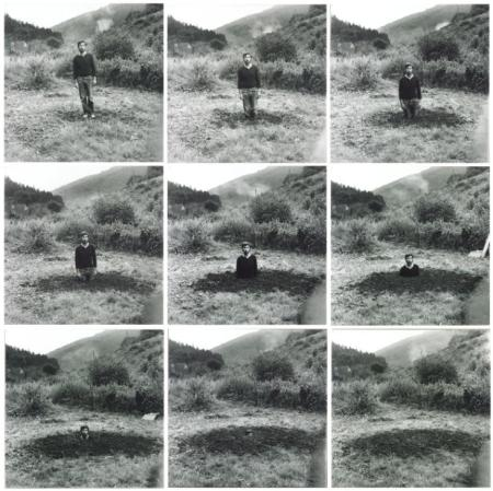 Keith Arnatt, Self-Burial (Television Interference Project), 1969