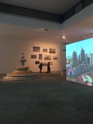 Welcome to the Jungle (Installation view) from left to right: Sandfountain (2015), Klaus Weber, Roundabout Monuments in the UAE (2014), Sophie-Therese Trenka-Dalton and The Park (2011), Ula Braun