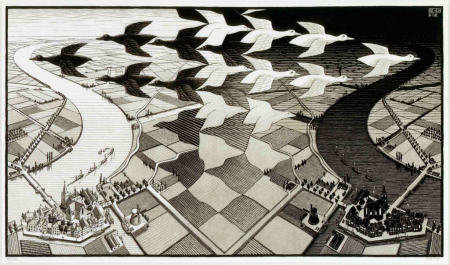 M.C. Escher, Day and Night, 1938