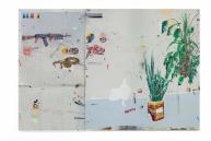 Paulo Nimer Pjota, AK47, 2012 acrílica, lápis, esmalte sintético e caneta sobre tela e chapa metálica 200 x 300 cm (200 x 110 cm - chapa metálica / 200 x 190 cm tela. ©Paulo Nimer Pjota, courtesy of Mendes Wood DM, Saõ Paulo
