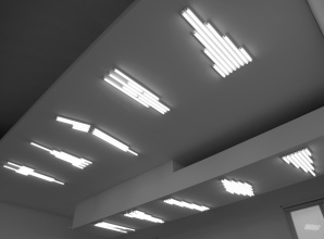 Monument for the Ceiling 1-10 (2010), White fluorescent light, fixtures Image Courtesy of Stefan Brüggemann