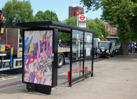 Byzantia Harlow, Contra-Faux, off site project at Bus Stop BC – Cheyne Walk Beaufort Street stop, SW3.