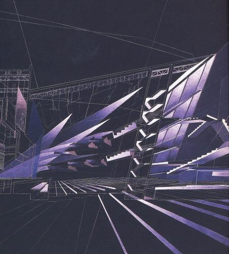 Zaha Hadid, Cardiff Opera House, Concept painting, 1994